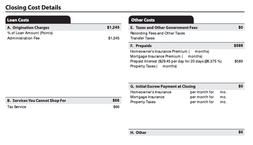 Loan estimate |  See details of closing costs, including estimate of cash to close on page 2