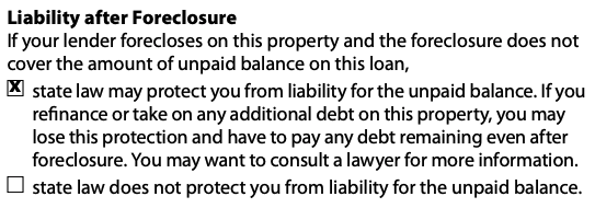 Closing Disclosure |  See Loan Calculations, Contact Information and Other Information, Including Post-foreclosure Liability, on page 5